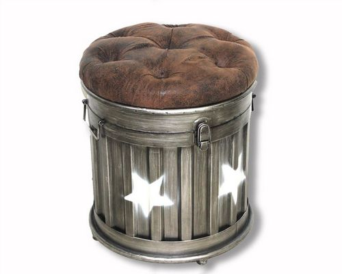 41cm Iron Round Star Style Ottoman Storage Stool With Faux Leather Lid